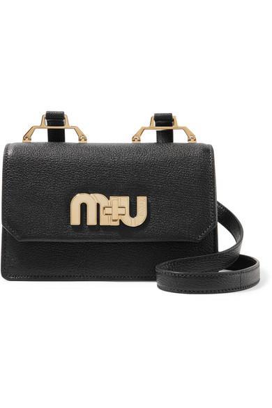 Miu Miu Textured-leather Shoulder Bag In Black