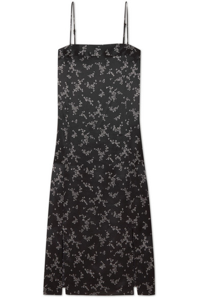 Equipment Kelby Floral-print Silk-satin Dress In Black