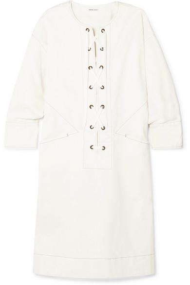 Tomas Maier Lace-up Cotton-blend Twill Dress In White