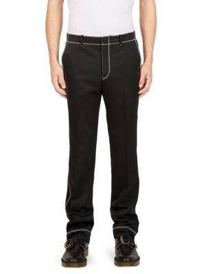 Givenchy Stitch-detail Straight-leg Trousers In Black