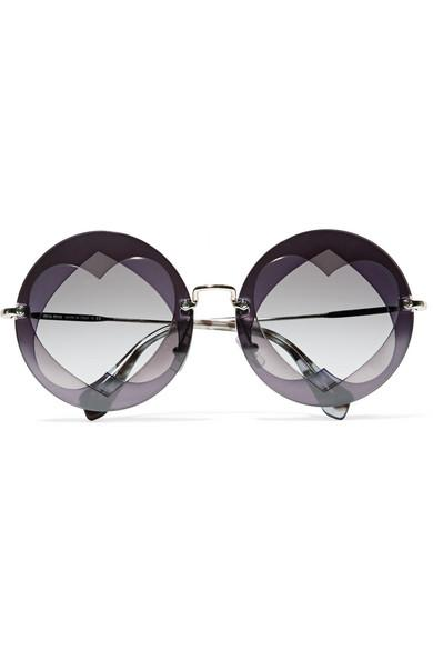 Miu Miu Round-frame Layered Acetate And Gold-tone Sunglasses In Purple