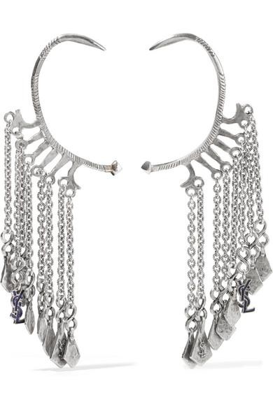 Saint Laurent Silver-tone Enamel Ear Cuffs