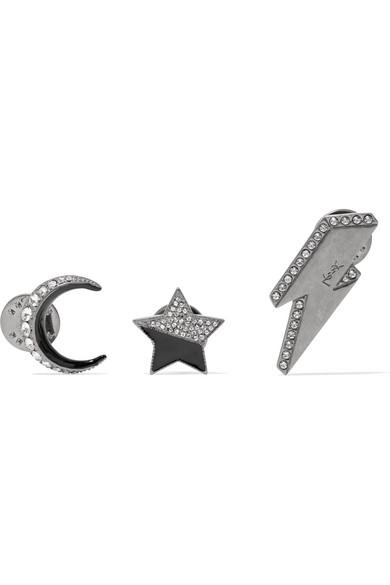 Saint Laurent Set Of Three Silver-tone, Crystal And Enamel Brooches In Nero