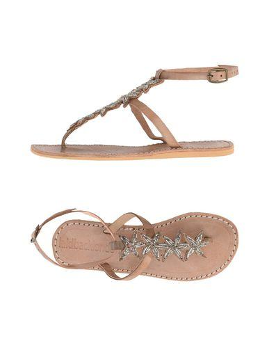 Laidback London Toe Strap Sandals In Khaki