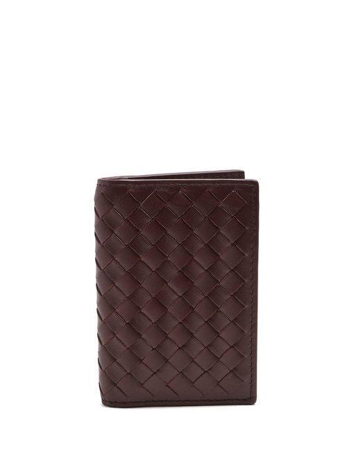 Bottega Veneta Intrecciato Bi-fold Leather Cardholder In Burgundy