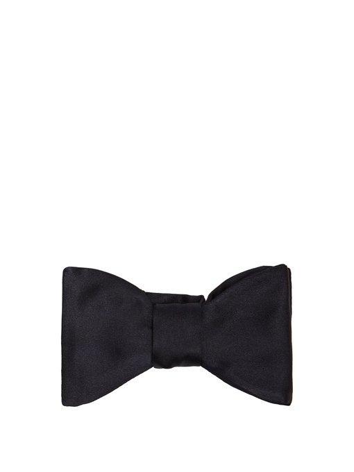 Prada Silk-satin Bow Tie In Navy