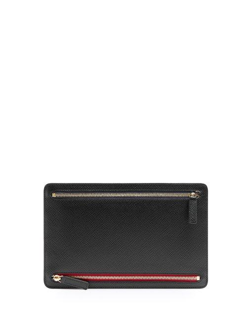 Smythson Panama Leather Currency Case In Black