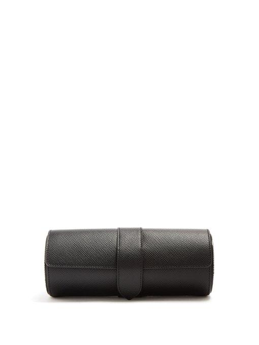 Smythson Panama Grained-leather Watch Box In Black