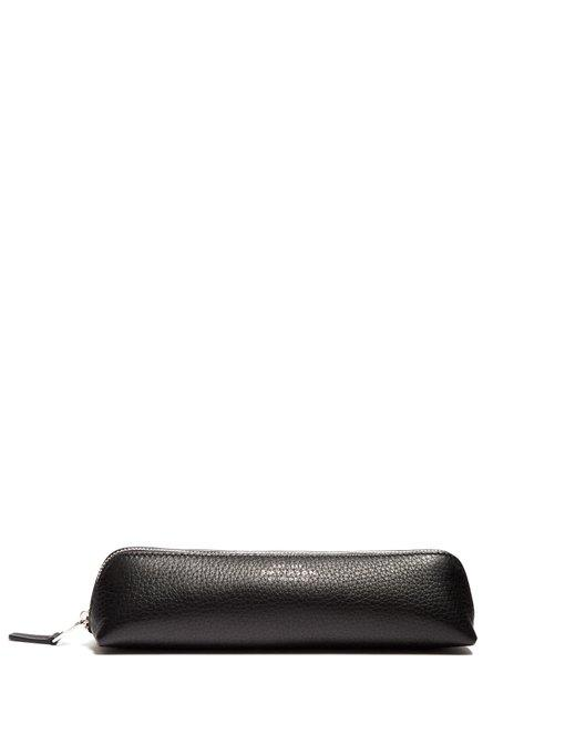 Smythson Panama Saffiano-Leather Pencil Case In Black