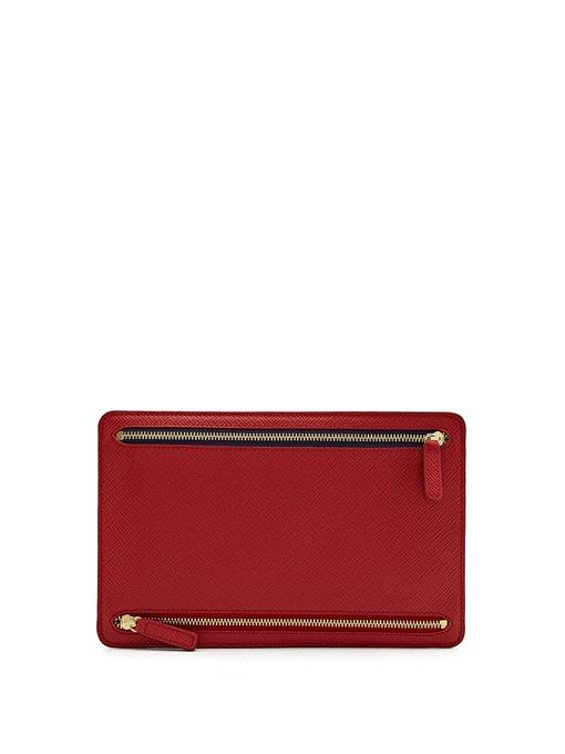 Smythson Panama Saffiano-Leather Currency Wallet In Red