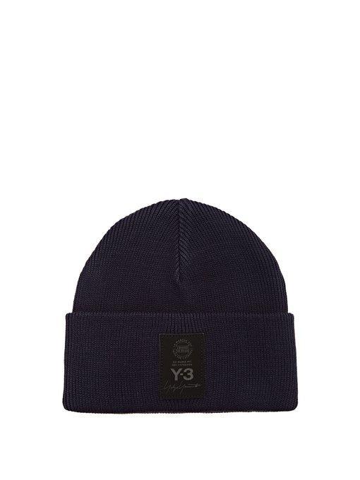 Y-3 Logo Beanie Hat In Blue