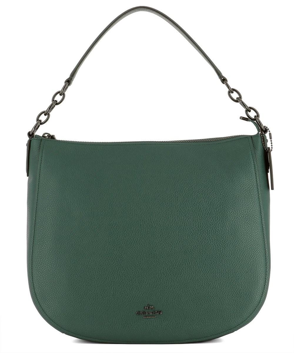Coach Women's  Green Leather Shoulder Bag