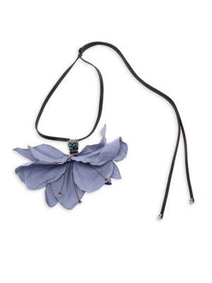 Marni Flower Pendant Leather Necklace In Wistaria