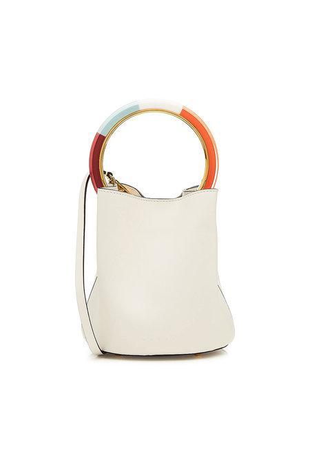 Marni Pannier Leather Shoulder Bag In White