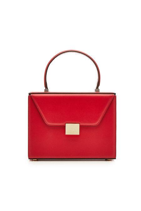Victoria Beckham Vanity Top Handle Leather Bag In Red