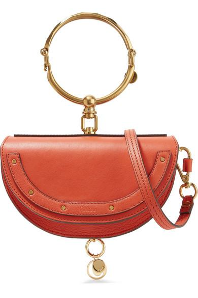 ChloÉ Nile Bracelet Mini Textured-leather Shoulder Bag In Tomato Red