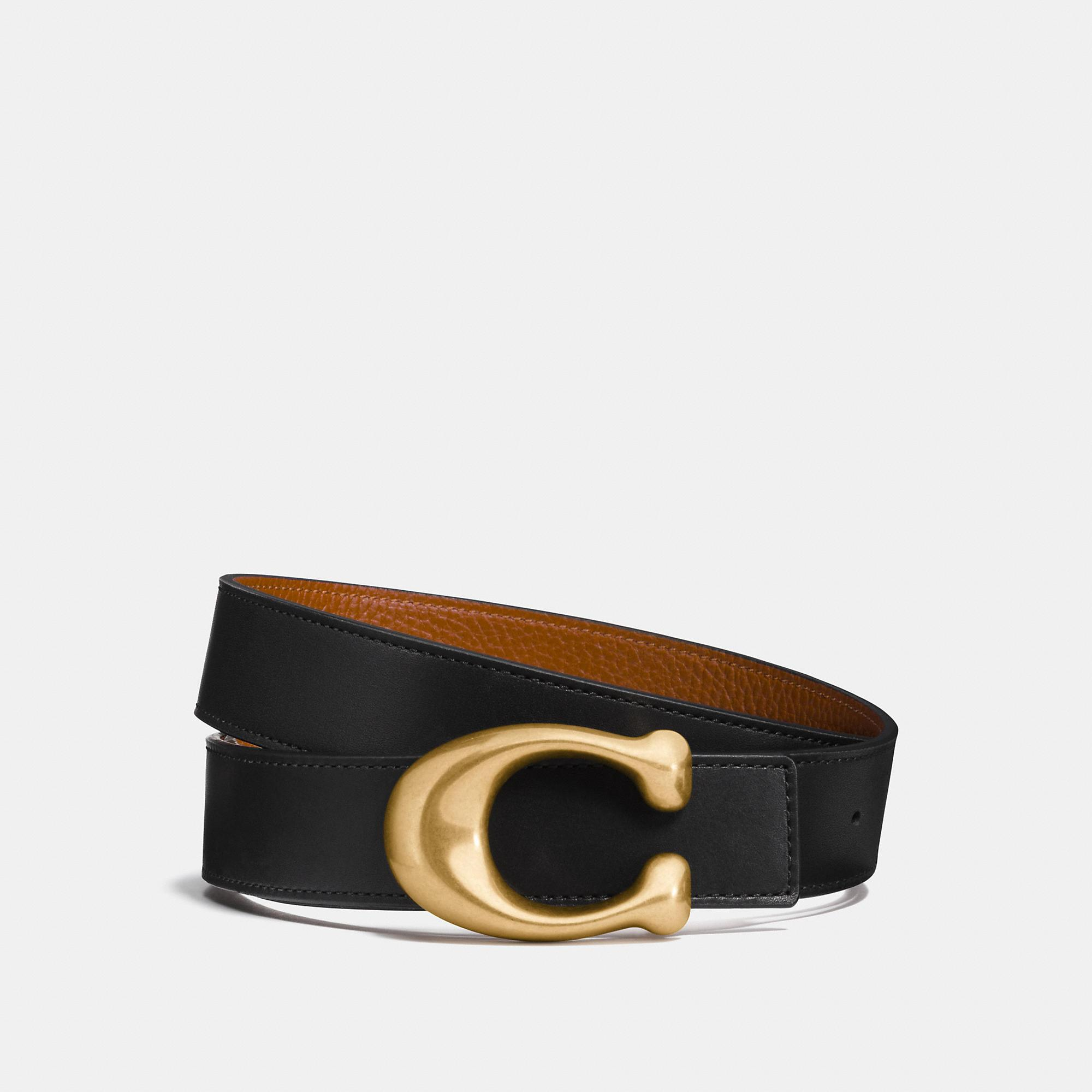 Coach Sculpted Signature Reversible Belt In Black/1941 Saddle/brass
