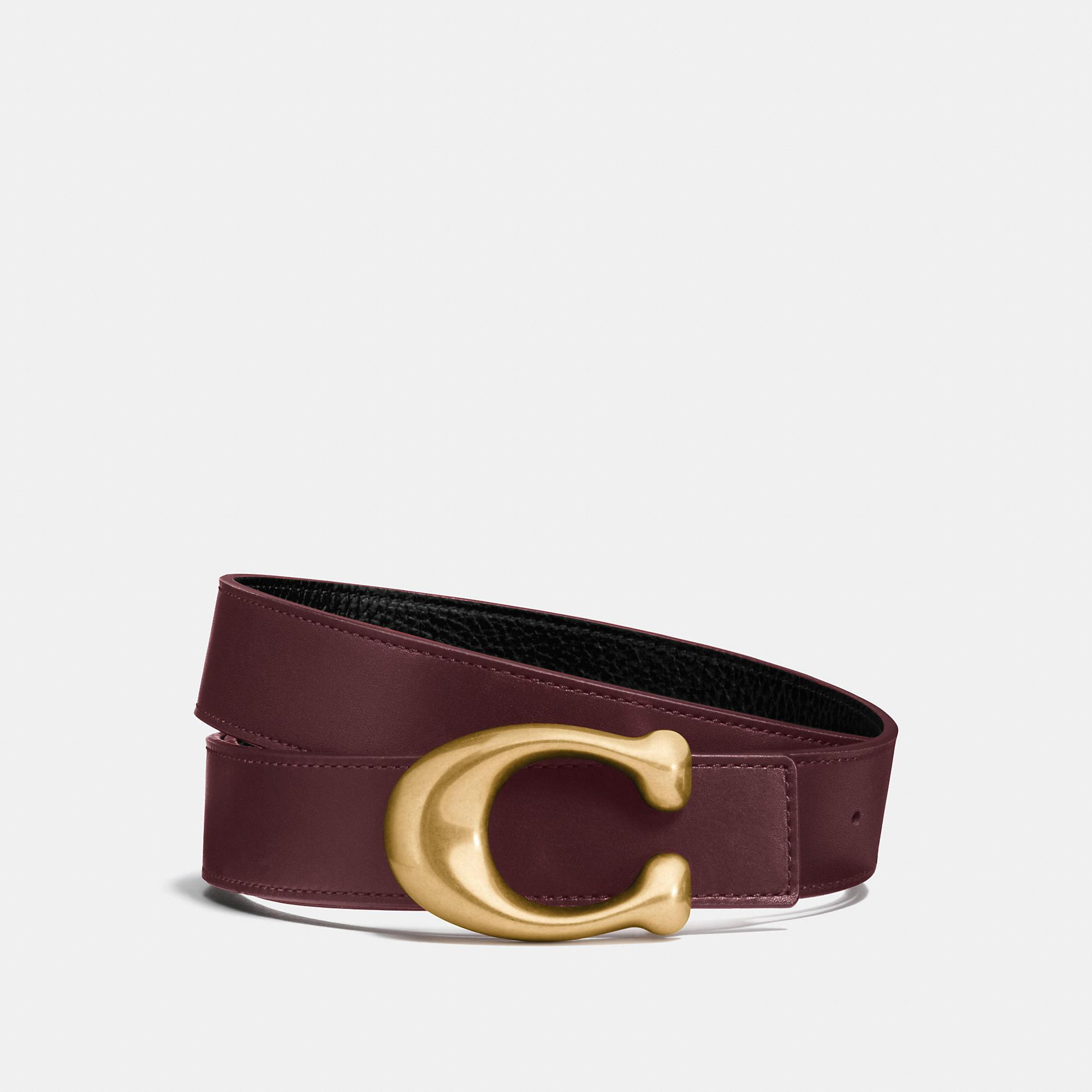 Coach Sculpted Signature Reversible Belt In Oxblood/black/brass
