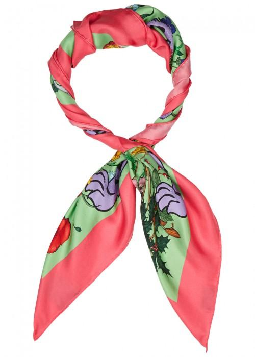 Gucci Flora Tiger Printed Silk Scarf