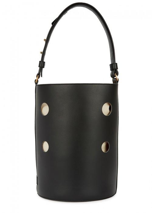 J & M Davidson Joy Black Leather Bucket Bag