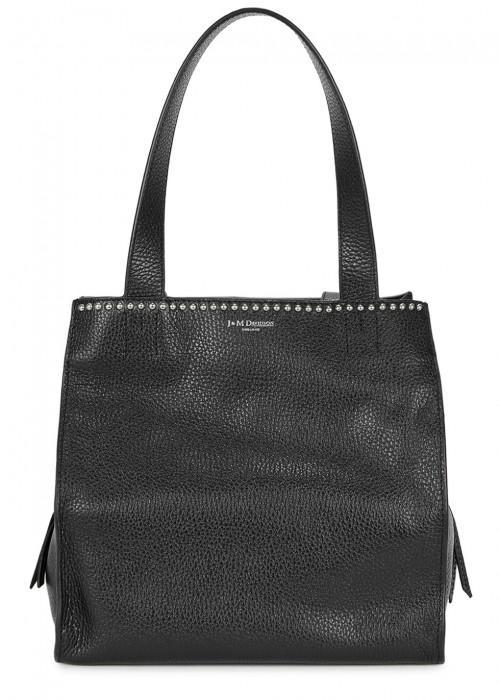 J & M Davidson Bella Small Studded Leather Tote In Black