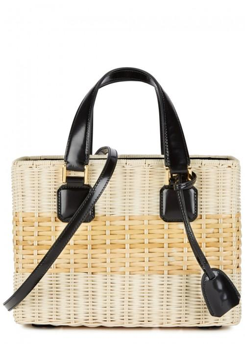 Mark Cross Manray Small Rattan Tote In Natural