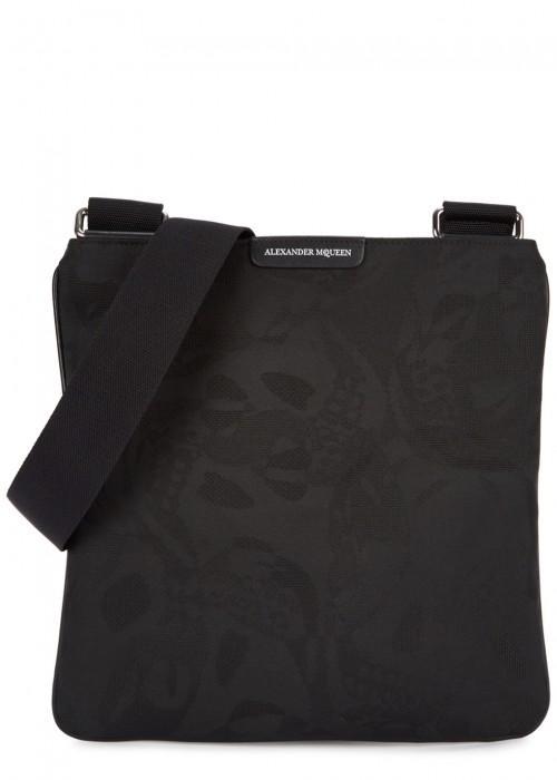 Alexander Mcqueen Skull-jacquard Nylon Cross-body Bag In Black
