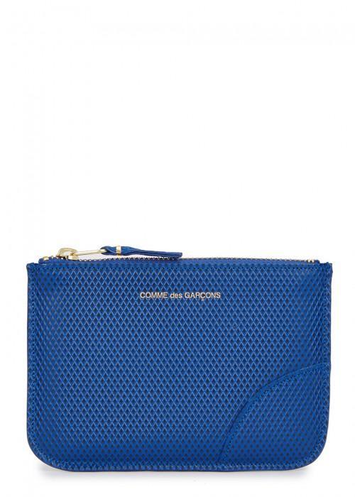 Comme Des GarÇons Small Blue Leather Pouch