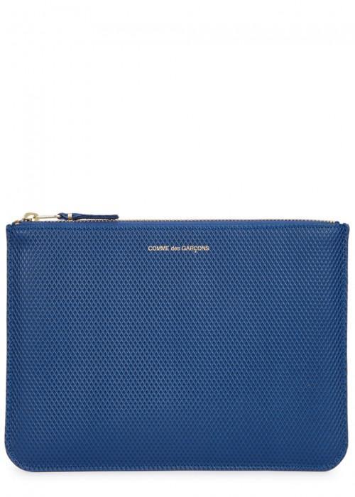 Comme Des GarÇons Large Blue Leather Pouch