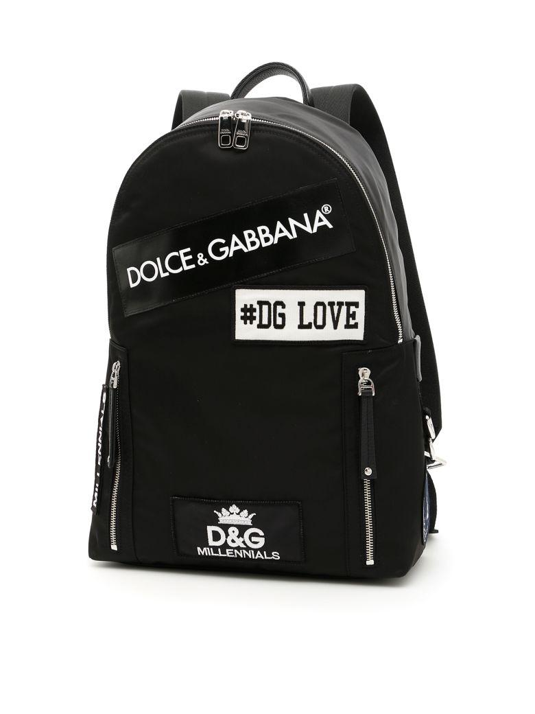 Dolce & Gabbana Nylon Backpack With Logo Patch In Nero-neronero