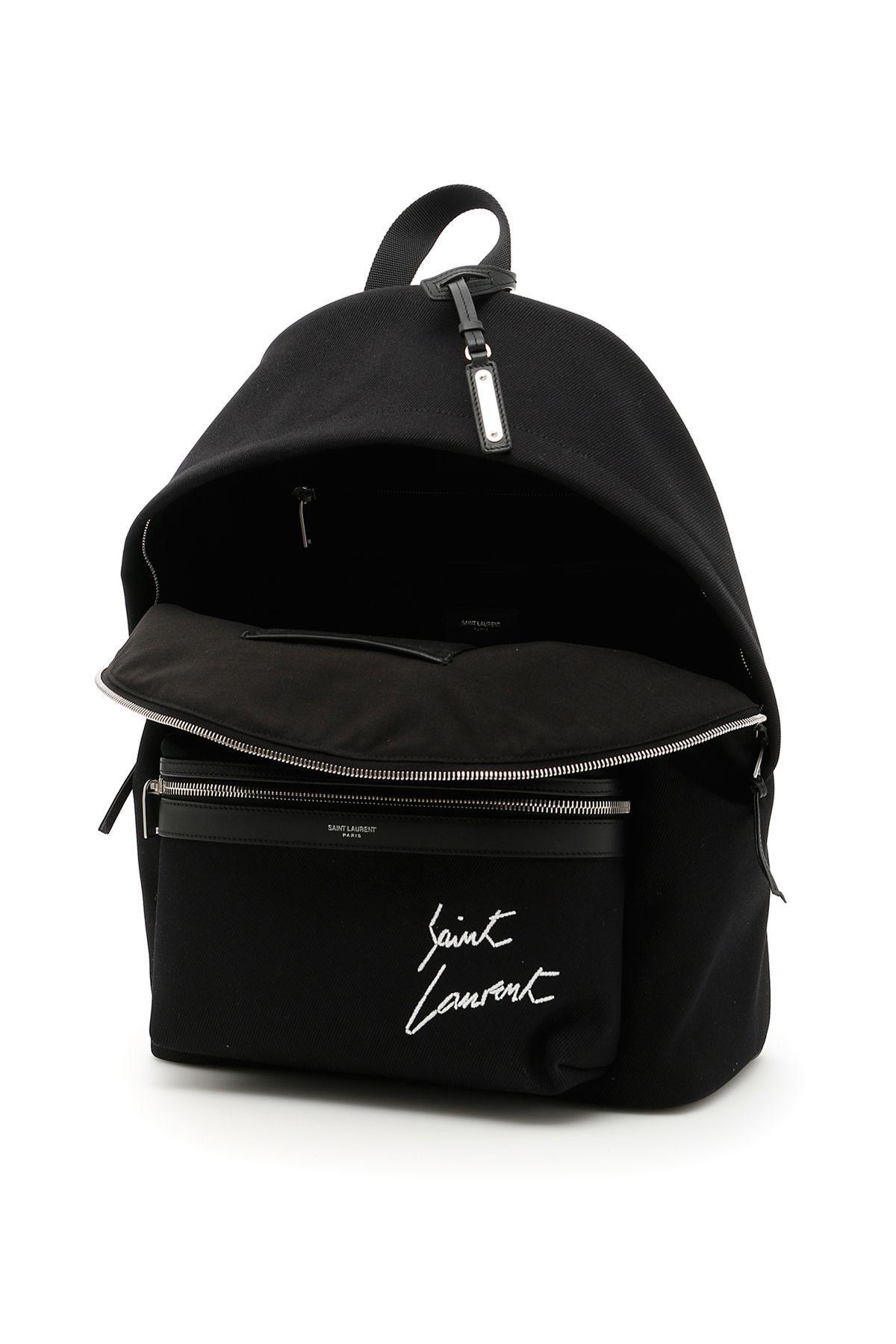 Saint Laurent Twill City Backpack In Noir-blancnero