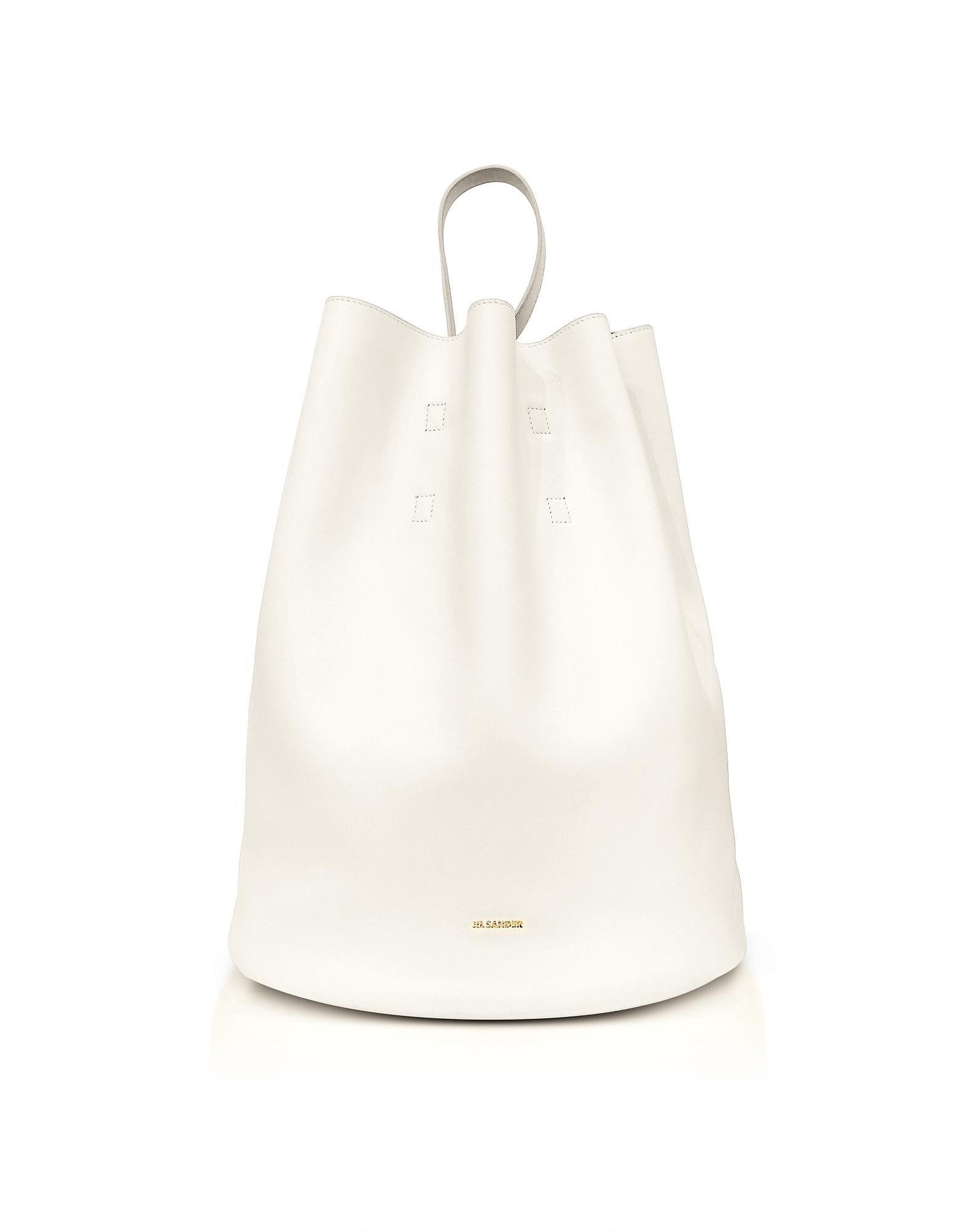 Jil Sander Open White Leather Bucket Bag