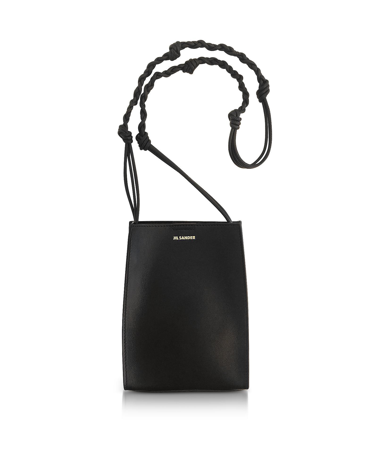 Jil Sander Black Leather Small Tote Bag In Blacknero