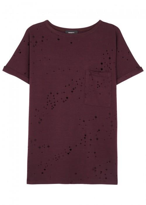 Twenty Waverly Distressed Jersey T-shirt In Bordeaux
