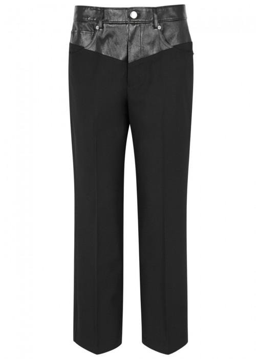 Helmut Lang Black Leather And Twill Trousers
