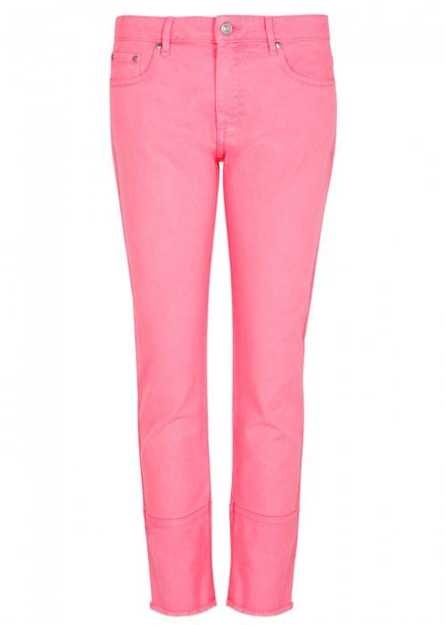 Msgm Bright Pink Cropped Skinny Jeans