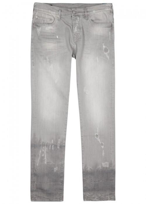 True Religion New Rocco Distressed Slim-leg Jeans In Grey