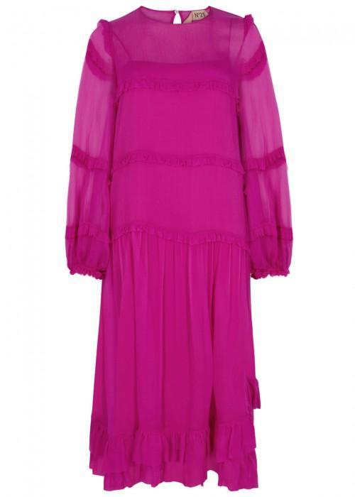 N°21 Fuchsia Tiered Silk Chiffon Dress