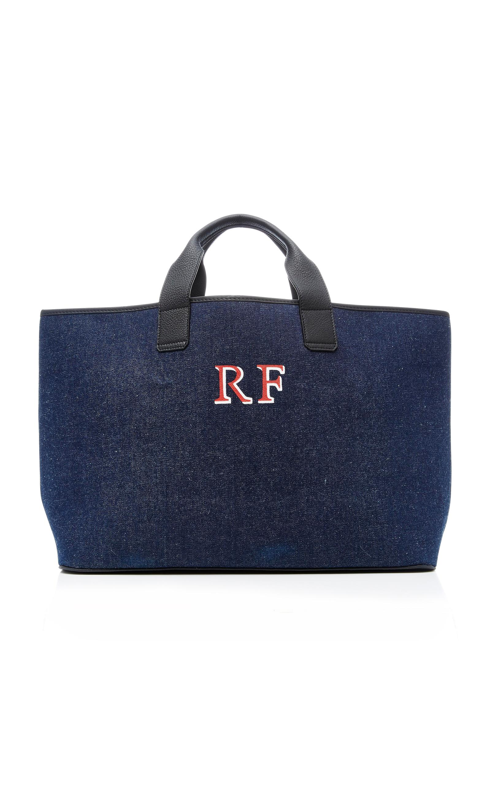 Rae Feather Denim Leather Tote In Navy