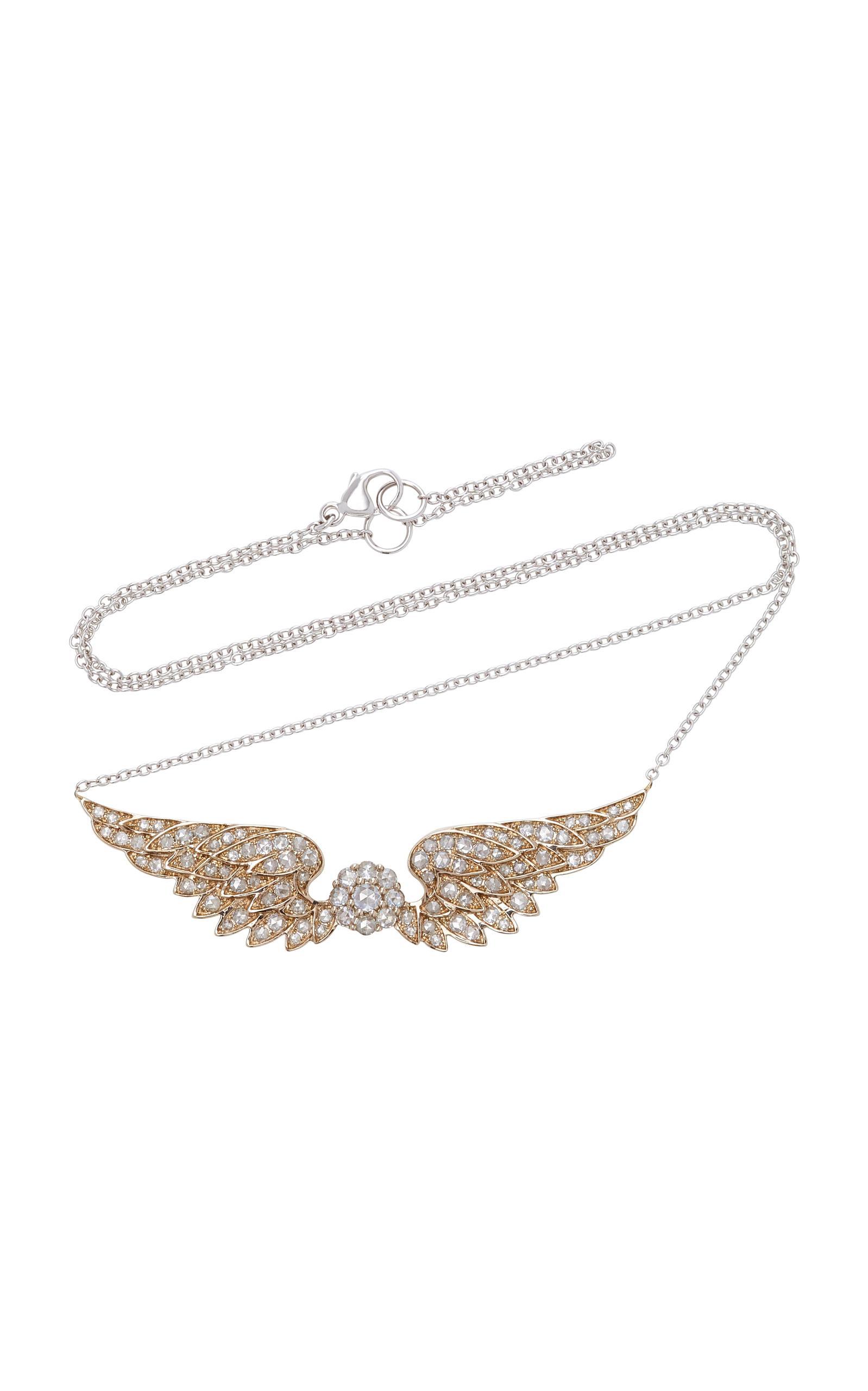 Nam Cho Large Angel Wing 18k White Gold Diamond Pendant Necklace