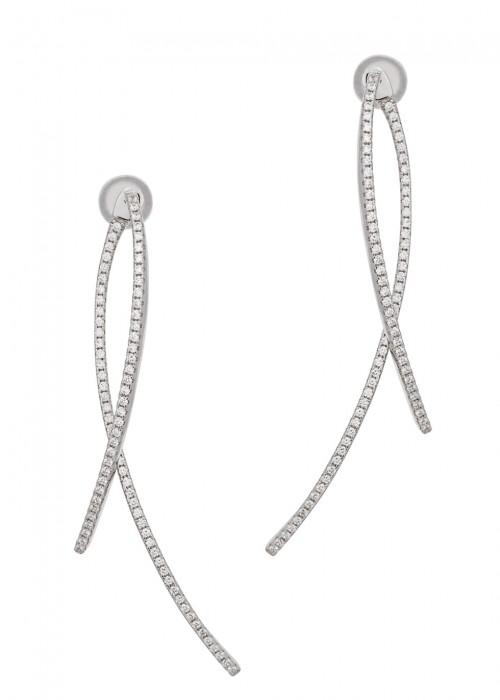 Apm Monaco Promesse Crystal-embellished Drop Earrings In Silver