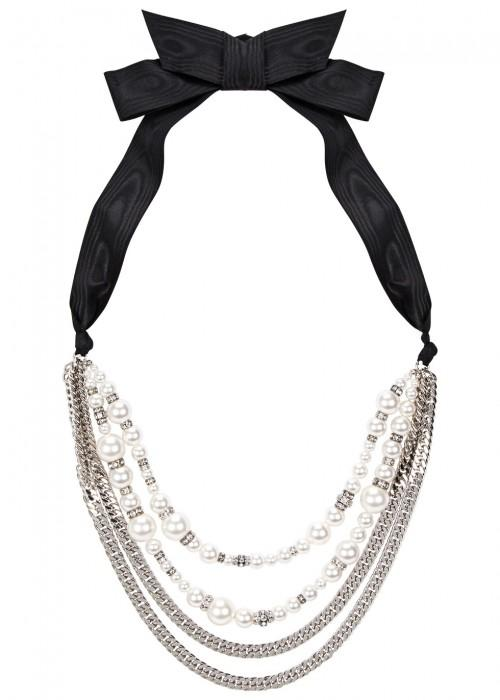 Lanvin Perles Swarovski-embellished Ribbon Necklace In White