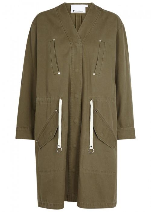 T By Alexander Wang Cotton Drawstring Waist Jacket In Green