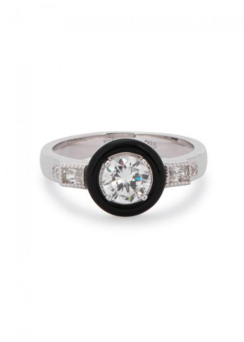 V Jewellery Marion Agate Rhodium-plated Circle Ring In Black