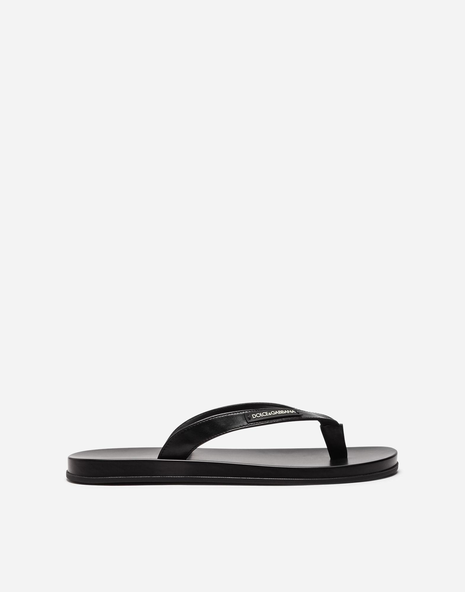 Dolce & Gabbana Thong Sandals In Rubber And Nappa Calfskin In Black