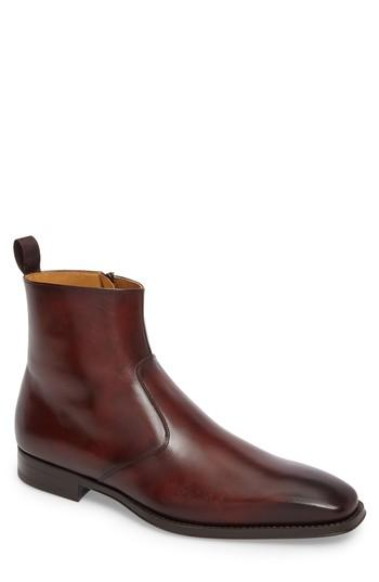 Magnanni Rosdale Zip Boot In Tobacco Leather