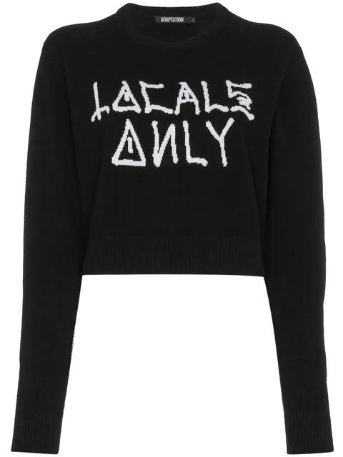 Adaptation Locals Only Crop Cashmere Sweatshirt - Black