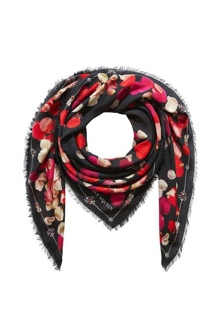 Alexander Mcqueen Printed Scarf With Wool In Black