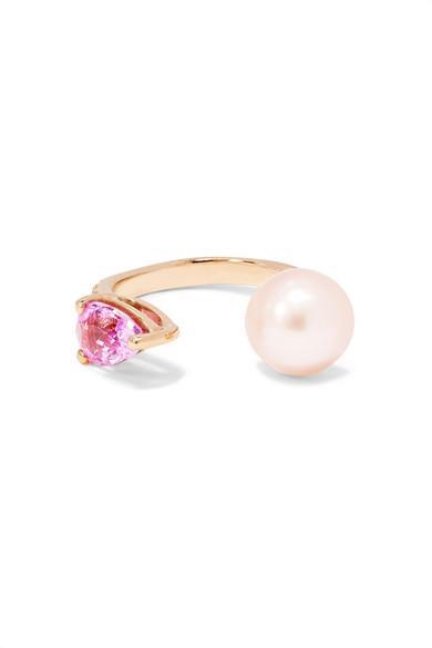 Anissa Kermiche 14-karat Rose Gold, Sapphire And Pearl Ear Cuff