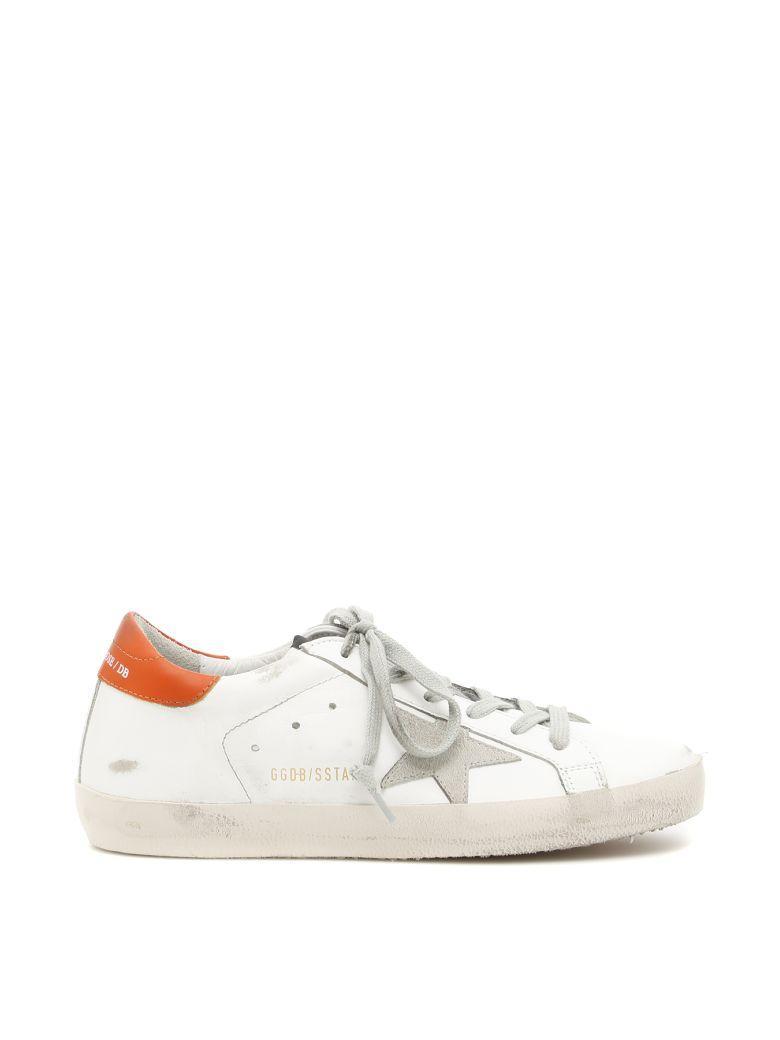 Golden Goose Superstar Sneakers In White Orange Ice Starbianco